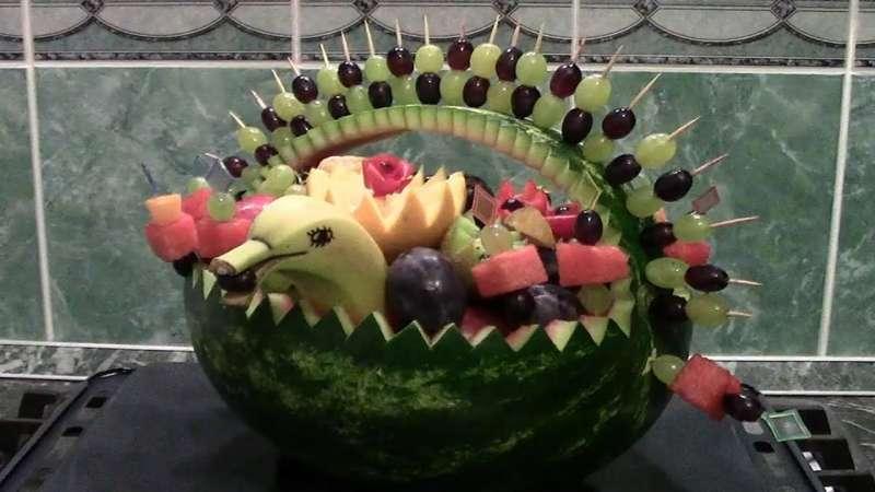 Как сделать фруктовую корзину своими руками видео