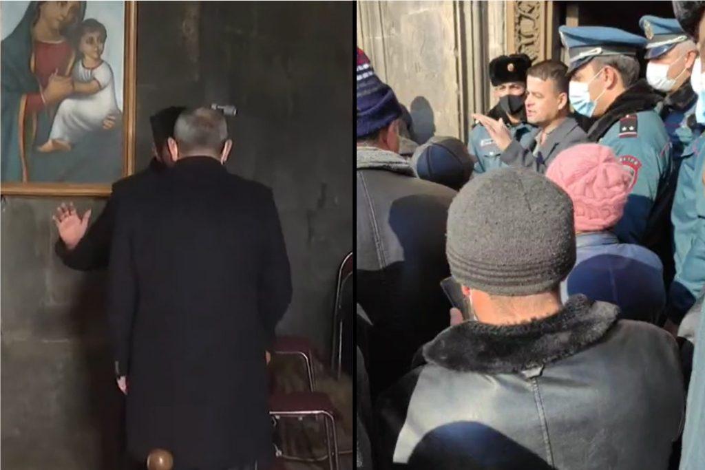 Տեսանյութ.Պետական ծառայողը գնացել է բռնություն գործադրելու հոգեւորականի նկատմամբ, ով չսեղմեց Փաշինյանի ձեռքը